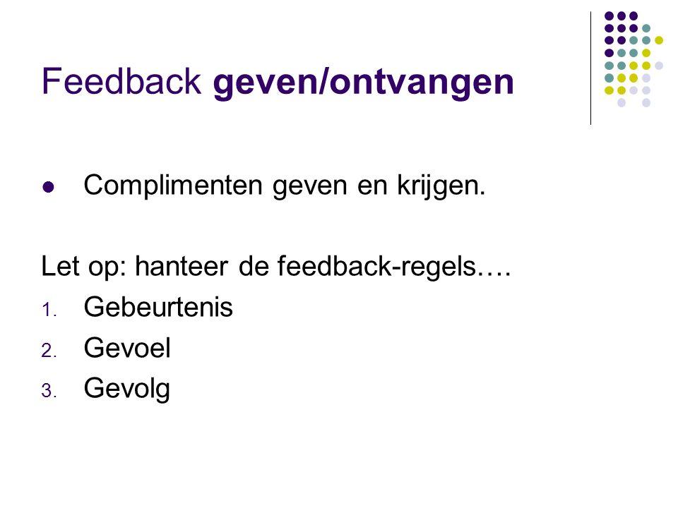 Feedback geven/ontvangen  Complimenten geven en krijgen.