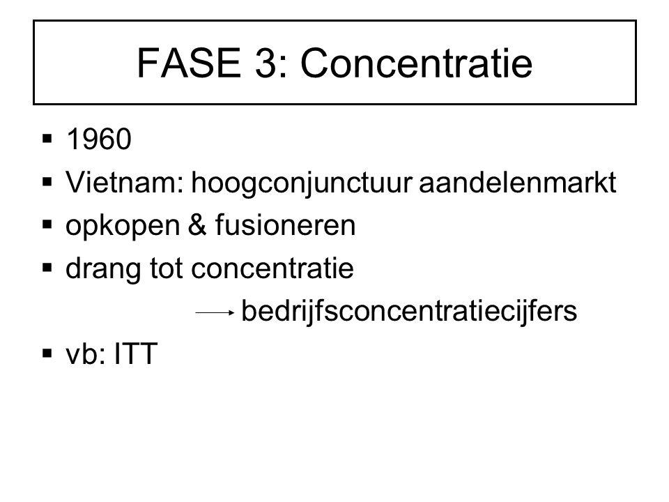FASE 3: Concentratie  1960  Vietnam: hoogconjunctuur aandelenmarkt  opkopen & fusioneren  drang tot concentratie bedrijfsconcentratiecijfers  vb: ITT
