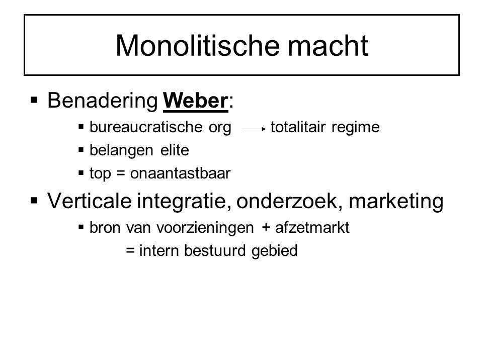 Monolitische macht  Benadering Weber:  bureaucratische orgtotalitair regime  belangen elite  top = onaantastbaar  Verticale integratie, onderzoek, marketing  bron van voorzieningen + afzetmarkt = intern bestuurd gebied