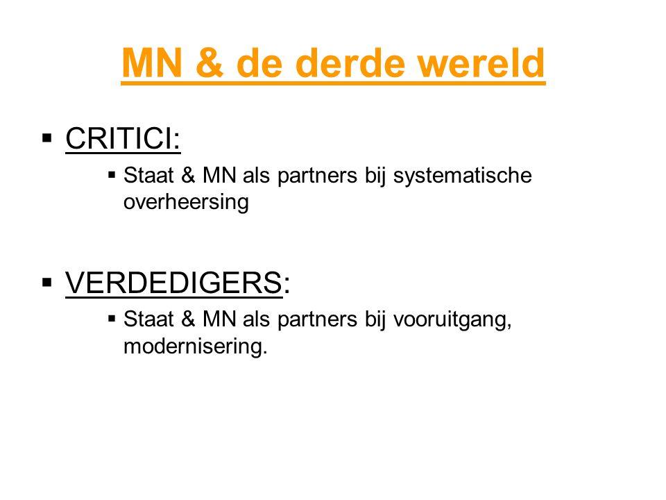 MN & de derde wereld  CRITICI:  Staat & MN als partners bij systematische overheersing  VERDEDIGERS:  Staat & MN als partners bij vooruitgang, modernisering.
