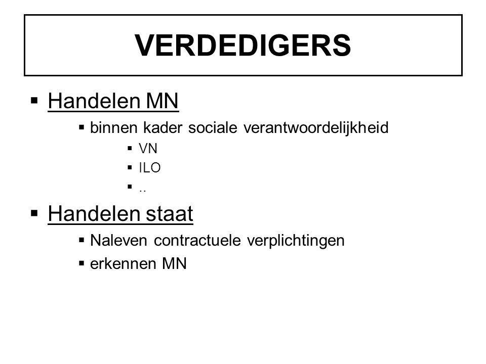 VERDEDIGERS  Handelen MN  binnen kader sociale verantwoordelijkheid  VN  ILO ..