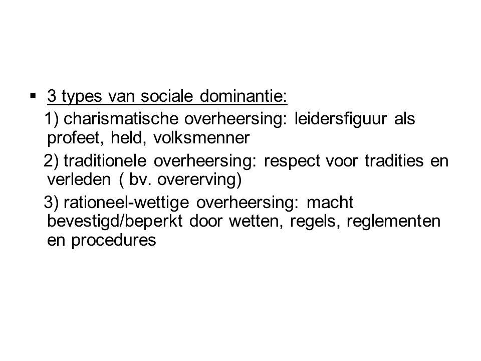  3 types van sociale dominantie: 1) charismatische overheersing: leidersfiguur als profeet, held, volksmenner 2) traditionele overheersing: respect voor tradities en verleden ( bv.
