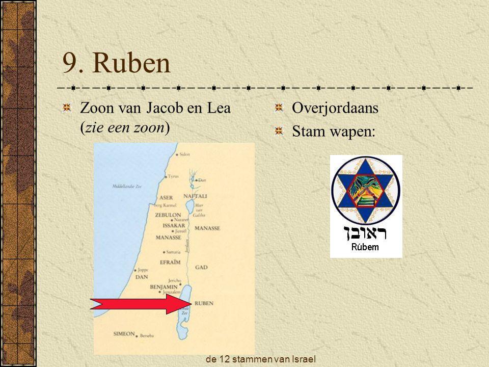 de 12 stammen van Israel 9. Ruben Zoon van Jacob en Lea (zie een zoon) Overjordaans Stam wapen: