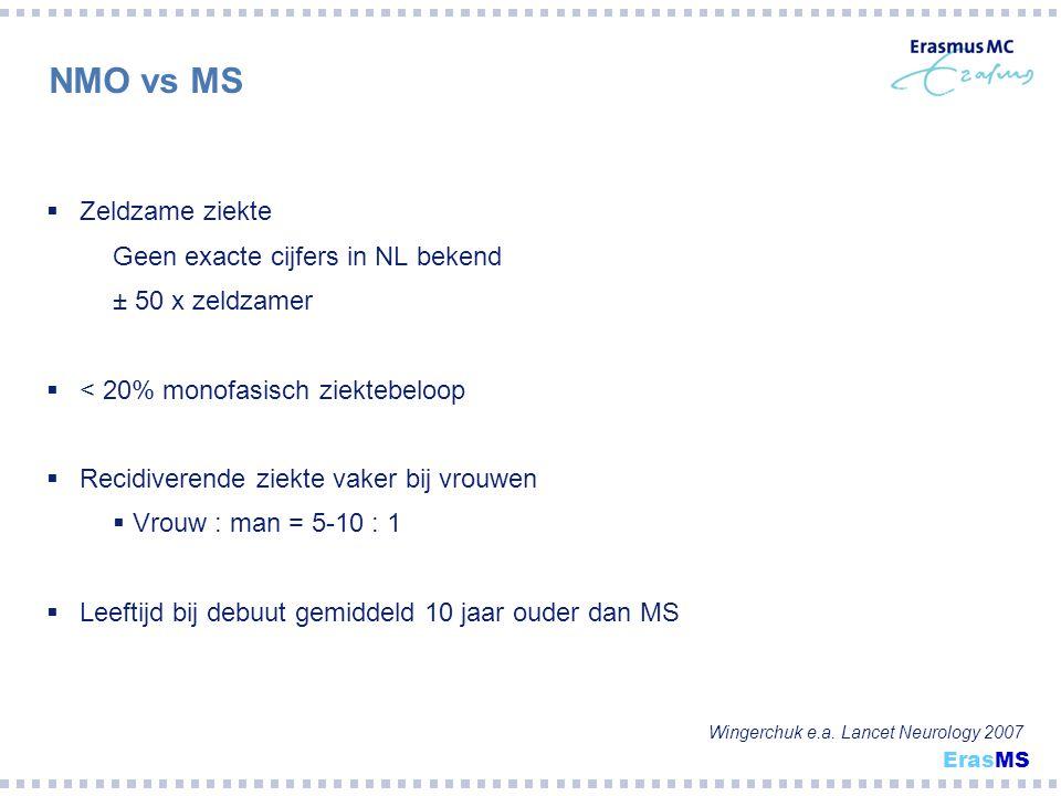 NMO vs MS Wingerchuk e.a. Lancet Neurology 2007  Zeldzame ziekte Geen exacte cijfers in NL bekend ± 50 x zeldzamer  < 20% monofasisch ziektebeloop 