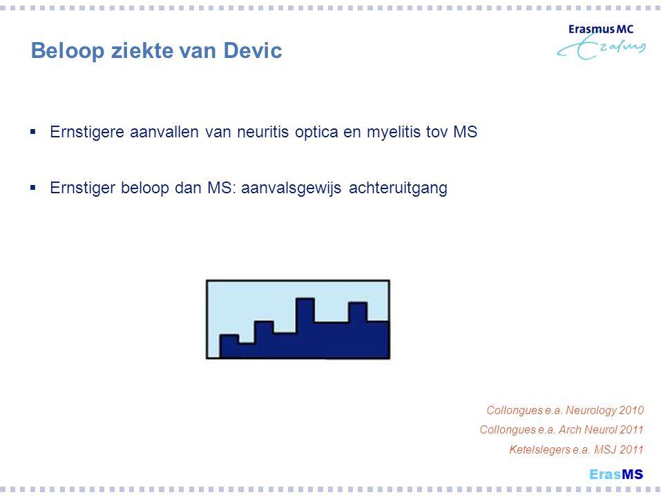 Beloop ziekte van Devic  Ernstigere aanvallen van neuritis optica en myelitis tov MS  Ernstiger beloop dan MS: aanvalsgewijs achteruitgang Collongue