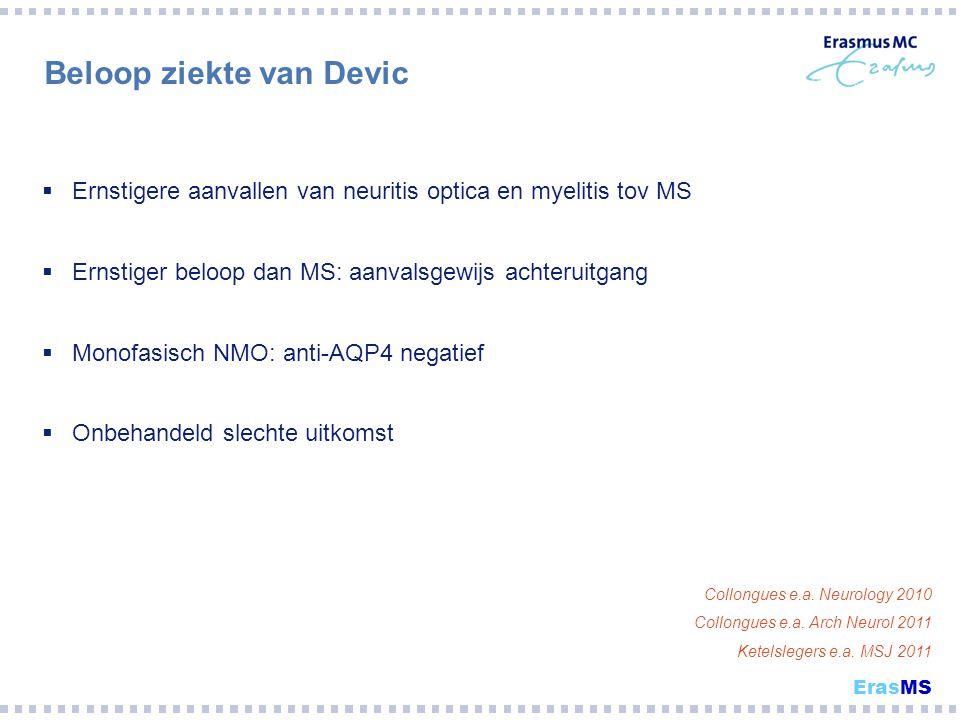 Beloop ziekte van Devic  Ernstigere aanvallen van neuritis optica en myelitis tov MS  Ernstiger beloop dan MS: aanvalsgewijs achteruitgang  Monofas