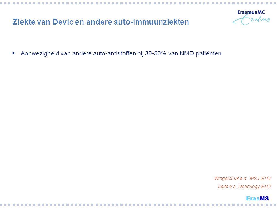Ziekte van Devic en andere auto-immuunziekten  Aanwezigheid van andere auto-antistoffen bij 30-50% van NMO patiënten Wingerchuk e.a. MSJ 2012 Leite e