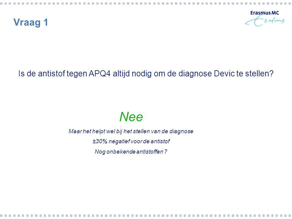 Vraag 1 Is de antistof tegen APQ4 altijd nodig om de diagnose Devic te stellen? Nee Maar het helpt wel bij het stellen van de diagnose ±30% negatief v