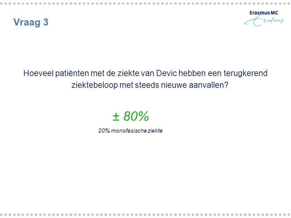 Vraag 3 Hoeveel patiënten met de ziekte van Devic hebben een terugkerend ziektebeloop met steeds nieuwe aanvallen? ± 80% 20% monofasische ziekte