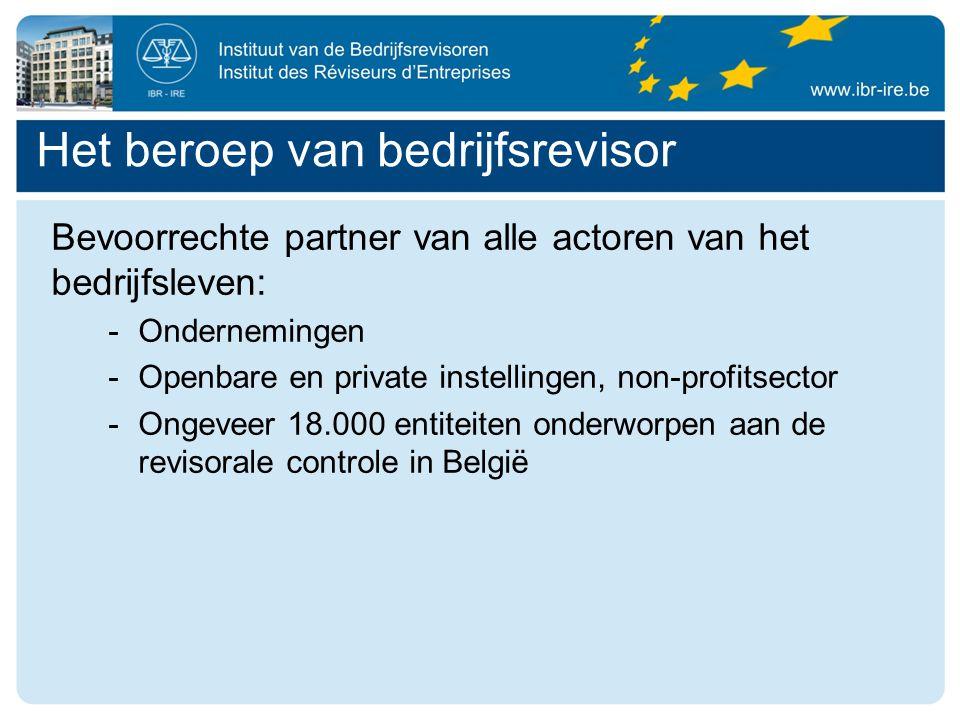 Bevoorrechte partner van alle actoren van het bedrijfsleven: -Ondernemingen -Openbare en private instellingen, non-profitsector -Ongeveer 18.000 entiteiten onderworpen aan de revisorale controle in België