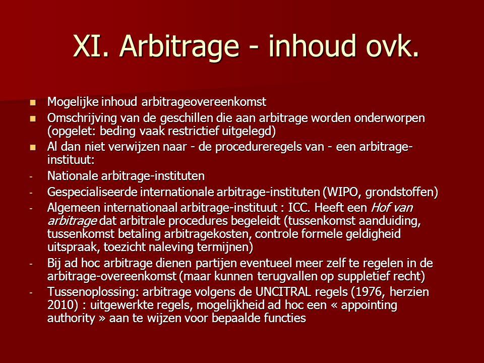 XI. Arbitrage - inhoud ovk. XI. Arbitrage - inhoud ovk.  Mogelijke inhoud arbitrageovereenkomst  Omschrijving van de geschillen die aan arbitrage wo
