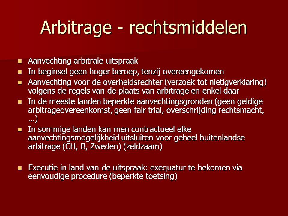 Arbitrage - rechtsmiddelen  Aanvechting arbitrale uitspraak  In beginsel geen hoger beroep, tenzij overeengekomen  Aanvechting voor de overheidsrec