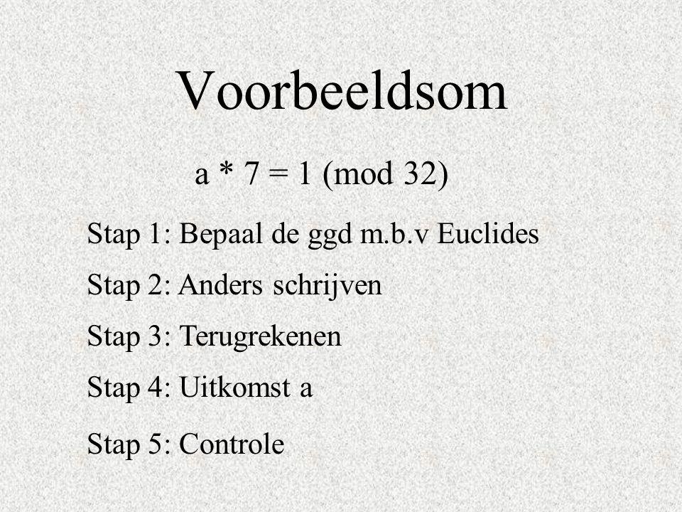 Voorbeeldsom a * 7 = 1 (mod 32) Stap 1: Bepaal de ggd m.b.v Euclides Stap 3: Terugrekenen Stap 4: Uitkomst a Stap 2: Anders schrijven Stap 5: Controle