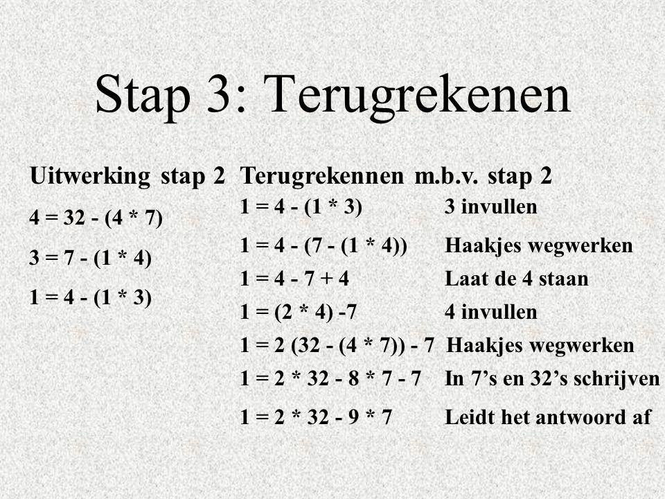 Stap 3: Terugrekenen Uitwerking stap 2 4 = 32 - (4 * 7) 3 = 7 - (1 * 4) 1 = 4 - (1 * 3) Terugrekennen m.b.v. stap 2 1 = 4 - (7 - (1 * 4)) Haakjes wegw