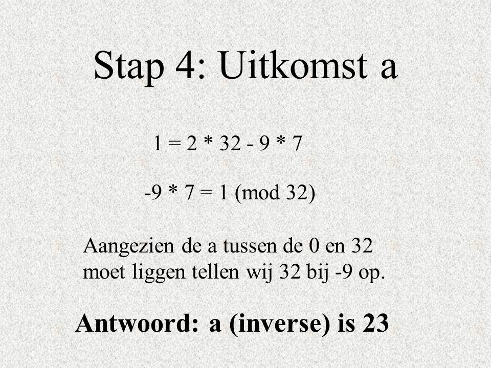 Stap 4: Uitkomst a 1 = 2 * 32 - 9 * 7 Aangezien de a tussen de 0 en 32 moet liggen tellen wij 32 bij -9 op. Antwoord: a (inverse) is 23 -9 * 7 = 1 (mo