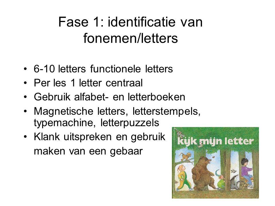 Fase 1: identificatie van fonemen/letters •6-10 letters functionele letters •Per les 1 letter centraal •Gebruik alfabet- en letterboeken •Magnetische letters, letterstempels, typemachine, letterpuzzels •Klank uitspreken en gebruik maken van een gebaar