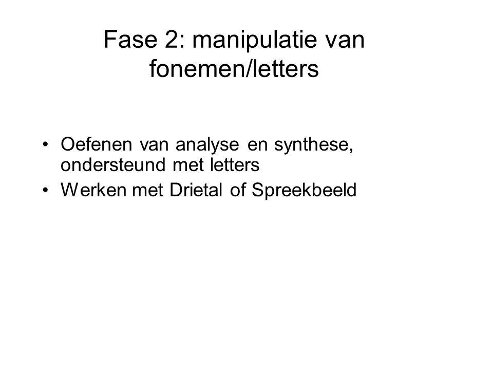 Fase 2: manipulatie van fonemen/letters •Oefenen van analyse en synthese, ondersteund met letters •Werken met Drietal of Spreekbeeld