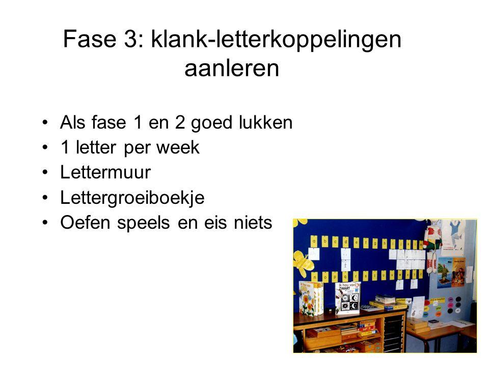 Fase 3: klank-letterkoppelingen aanleren •Als fase 1 en 2 goed lukken •1 letter per week •Lettermuur •Lettergroeiboekje •Oefen speels en eis niets