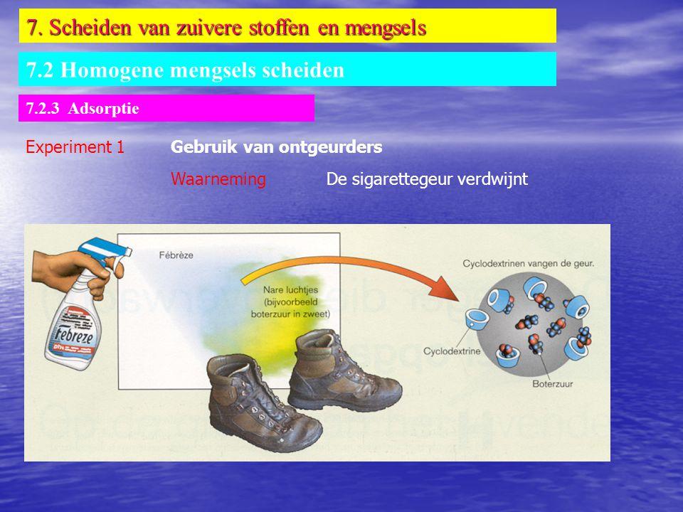 7. Scheiden van zuivere stoffen en mengsels 7.2 Homogene mengsels scheiden 7.2.3 Adsorptie Experiment 1Gebruik van ontgeurders Waarneming De sigarette
