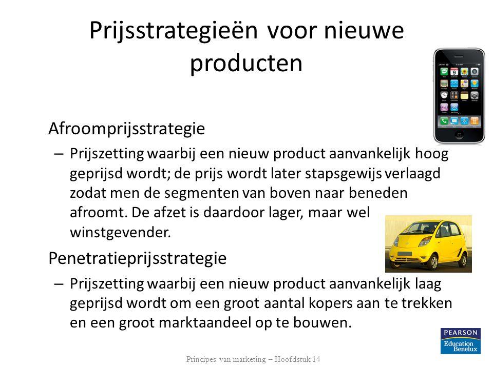 Prijsstrategieën voor nieuwe producten Afroomprijsstrategie – Prijszetting waarbij een nieuw product aanvankelijk hoog geprijsd wordt; de prijs wordt