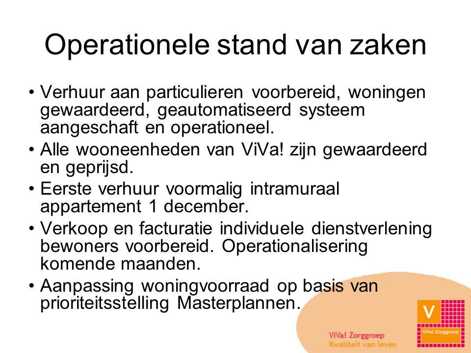 Operationele stand van zaken •Verhuur aan particulieren voorbereid, woningen gewaardeerd, geautomatiseerd systeem aangeschaft en operationeel.