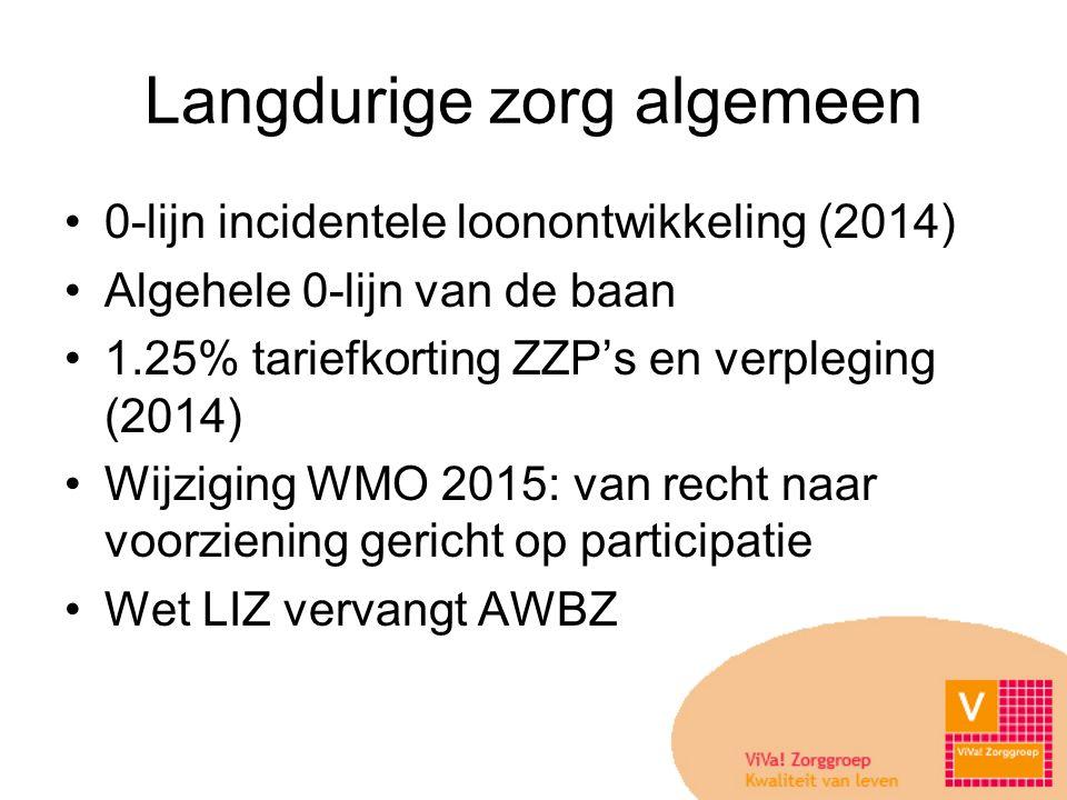 Langdurige zorg algemeen •0-lijn incidentele loonontwikkeling (2014) •Algehele 0-lijn van de baan •1.25% tariefkorting ZZP's en verpleging (2014) •Wijziging WMO 2015: van recht naar voorziening gericht op participatie •Wet LIZ vervangt AWBZ