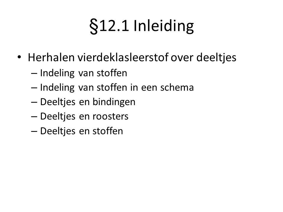§12.1 Inleiding • Herhalen vierdeklasleerstof over deeltjes – Indeling van stoffen – Indeling van stoffen in een schema – Deeltjes en bindingen – Deel