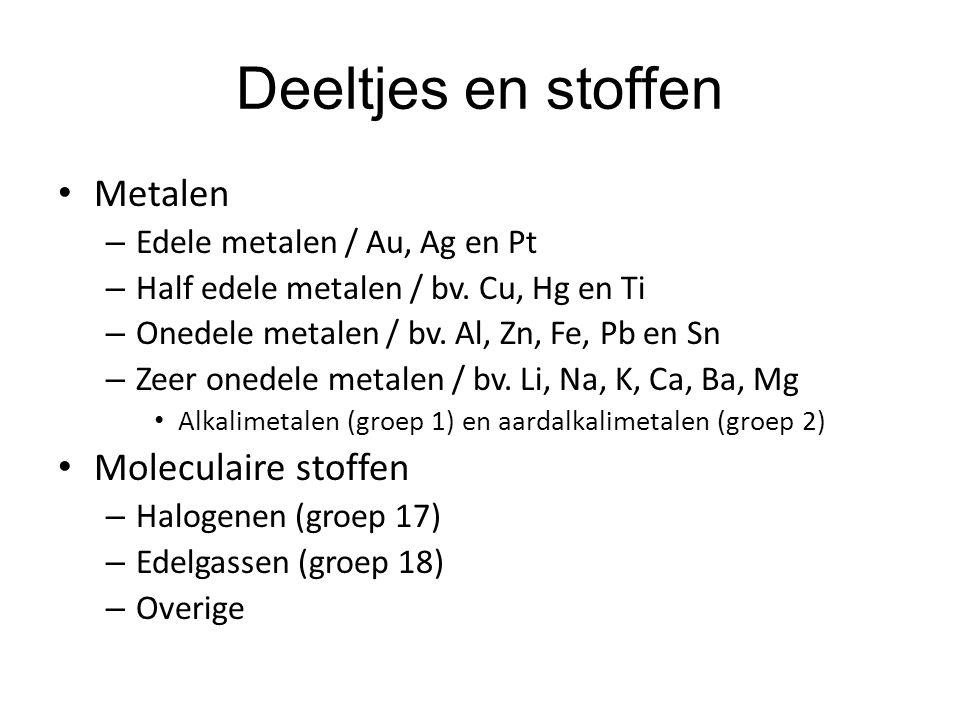 Deeltjes en stoffen • Metalen – Edele metalen / Au, Ag en Pt – Half edele metalen / bv. Cu, Hg en Ti – Onedele metalen / bv. Al, Zn, Fe, Pb en Sn – Ze