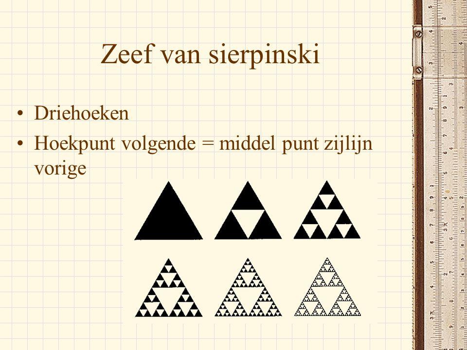 Zeef van sierpinski •Driehoeken •Hoekpunt volgende = middel punt zijlijn vorige