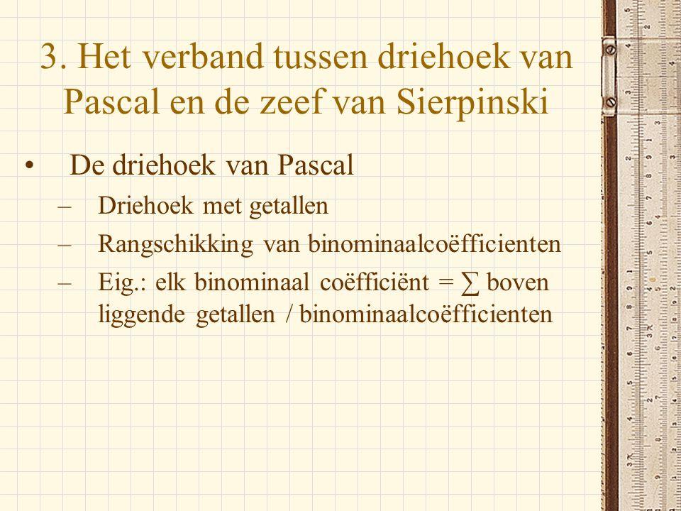 3. Het verband tussen driehoek van Pascal en de zeef van Sierpinski •De driehoek van Pascal –Driehoek met getallen –Rangschikking van binominaalcoëffi
