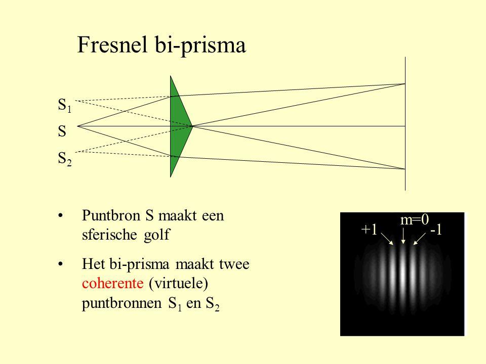 Fresnel bi-prisma S S1S1 S2S2 m=0 +1 •Puntbron S maakt een sferische golf •Het bi-prisma maakt twee coherente (virtuele) puntbronnen S 1 en S 2