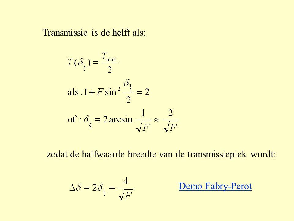 Transmissie is de helft als: zodat de halfwaarde breedte van de transmissiepiek wordt: Demo Fabry-Perot