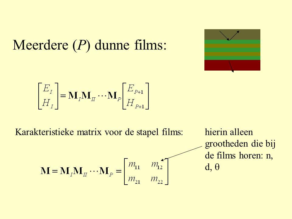 Meerdere (P) dunne films: Karakteristieke matrix voor de stapel films:hierin alleen grootheden die bij de films horen: n, d, 