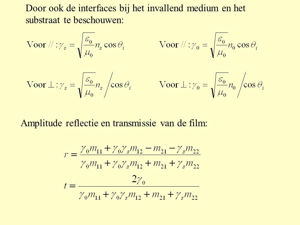 Door ook de interfaces bij het invallend medium en het substraat te beschouwen: Amplitude reflectie en transmissie van de film: