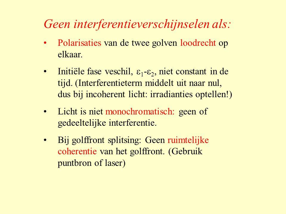 Geen interferentieverschijnselen als: •Polarisaties van de twee golven loodrecht op elkaar.