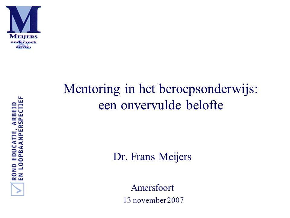 •Mentorprojecten starten omdat 'extern geld' beschikbaar is •Mentorprojecten voor 14-18 jarige studenten, speciaal •potentiële drop outs •meisjes in technische studies ('techno-mentoring') •Leerlingen uit etnische minderheden ('ethno-mentoring') •Doelen •voorkomen van drop out en demotivatie •via het aanbieden van succesvolle 'rolmodellen' dan wel peer mentoring