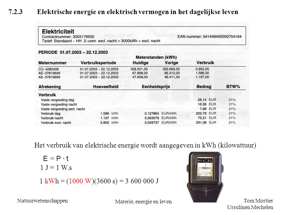 Tom Mortier Ursulinen Mechelen Natuurwetenschappen Materie, energie en leven 7.2.3Elektrische energie en elektrisch vermogen in het dagelijkse leven H