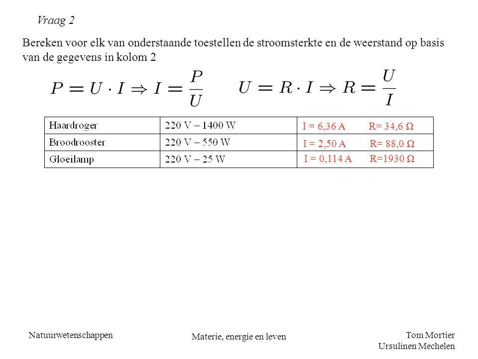 Tom Mortier Ursulinen Mechelen Natuurwetenschappen Materie, energie en leven Vraag 2 Bereken voor elk van onderstaande toestellen de stroomsterkte en