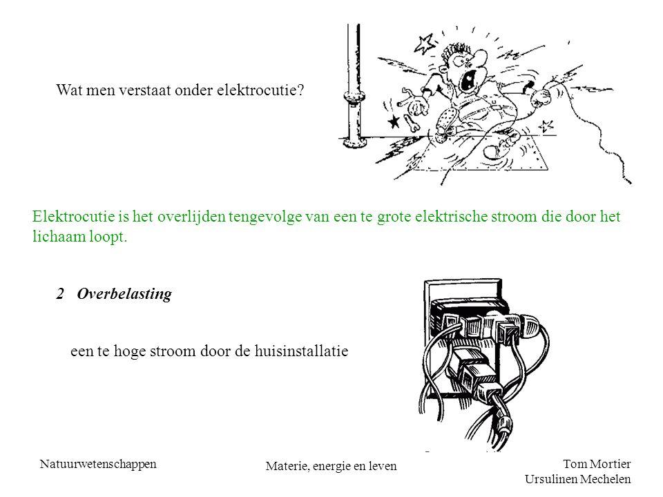 Tom Mortier Ursulinen Mechelen Natuurwetenschappen Materie, energie en leven Wat men verstaat onder elektrocutie? Elektrocutie is het overlijden tenge