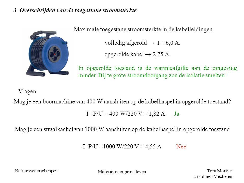 Tom Mortier Ursulinen Mechelen Natuurwetenschappen Materie, energie en leven 3 Overschrijden van de toegestane stroomsterkte Maximale toegestane stroo