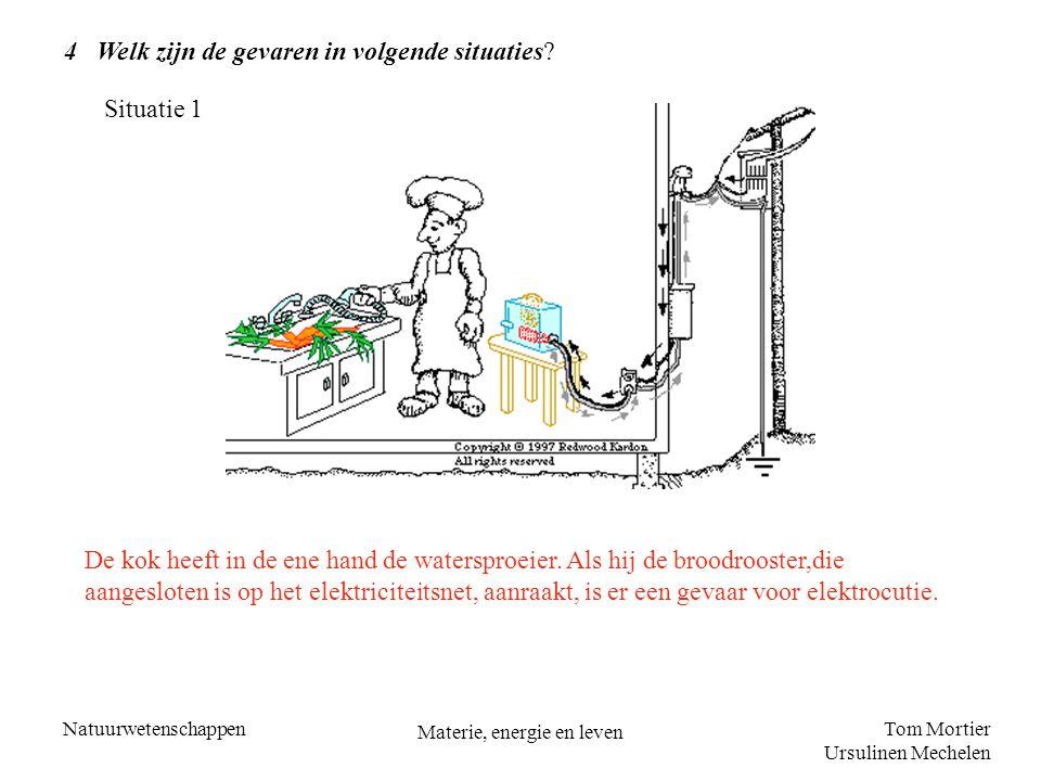 Tom Mortier Ursulinen Mechelen Natuurwetenschappen Materie, energie en leven 4 Welk zijn de gevaren in volgende situaties? De kok heeft in de ene hand