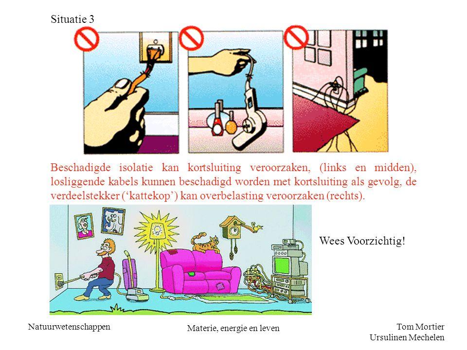 Tom Mortier Ursulinen Mechelen Natuurwetenschappen Materie, energie en leven Situatie 3 Beschadigde isolatie kan kortsluiting veroorzaken, (links en m