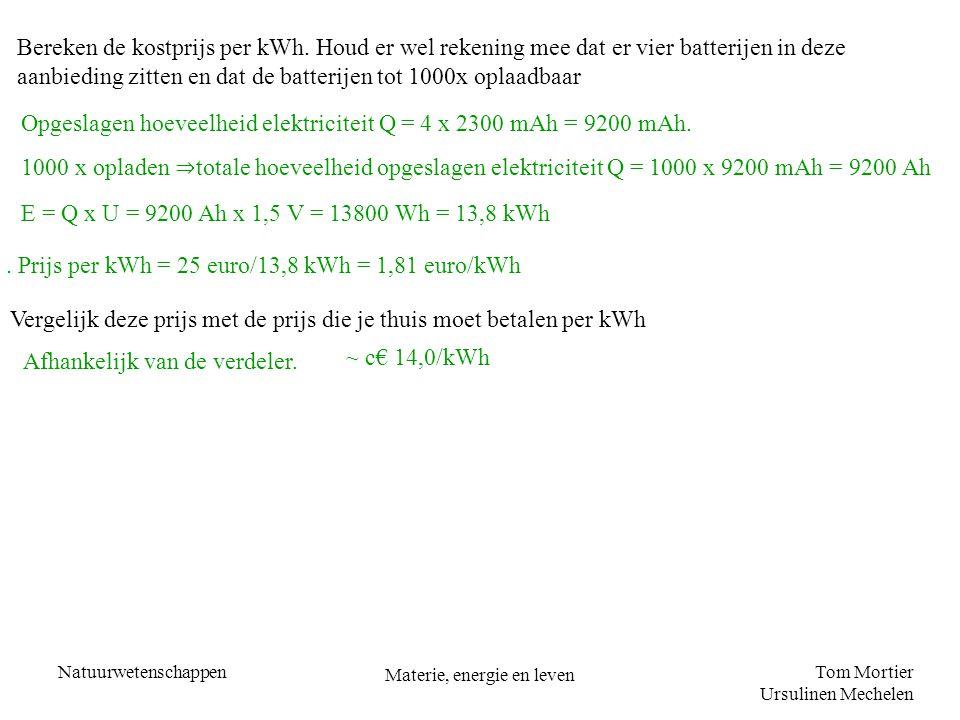 Tom Mortier Ursulinen Mechelen Natuurwetenschappen Materie, energie en leven Bereken de kostprijs per kWh. Houd er wel rekening mee dat er vier batter