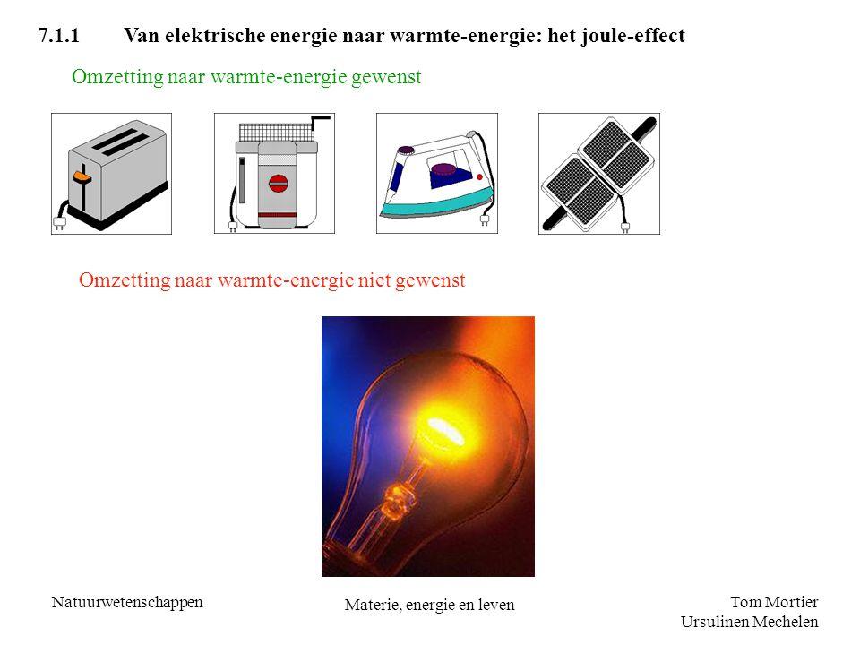 Tom Mortier Ursulinen Mechelen Natuurwetenschappen Materie, energie en leven b) Ga na of het naar veiligheid verantwoord is extra een frituurketel (2000 W) op dezelfde stroomkring aan te sluiten als al deze toestellen in werking zijn Oplossing Frituurketel: I = 2000 W/220 V = 9,09 A I tot =14,09 A + 9,09 A = 23,18 A > 16 A De smeltveiligheid zal doorsmelten.