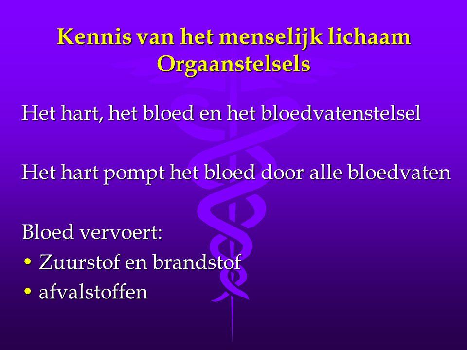 Kennis van het menselijk lichaam Orgaanstelsels Het hart, het bloed en het bloedvatenstelsel Het hart pompt het bloed door alle bloedvaten Bloed vervoert: •Zuurstof en brandstof •afvalstoffen