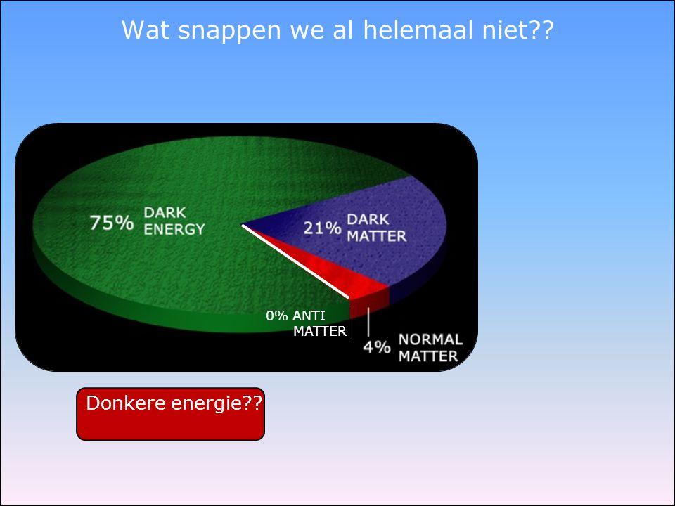 Donkere energie?? Wat snappen we al helemaal niet?? 0% ANTI MATTER
