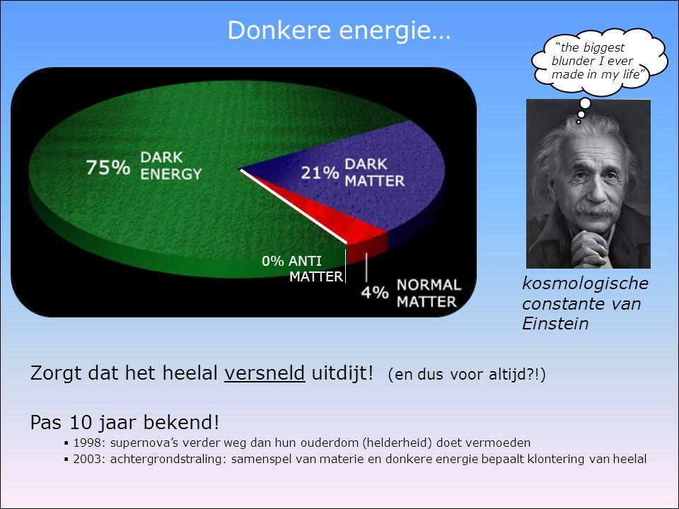 Donkere energie… Zorgt dat het heelal versneld uitdijt! (en dus voor altijd?!) Pas 10 jaar bekend!  1998: supernova's verder weg dan hun ouderdom (he