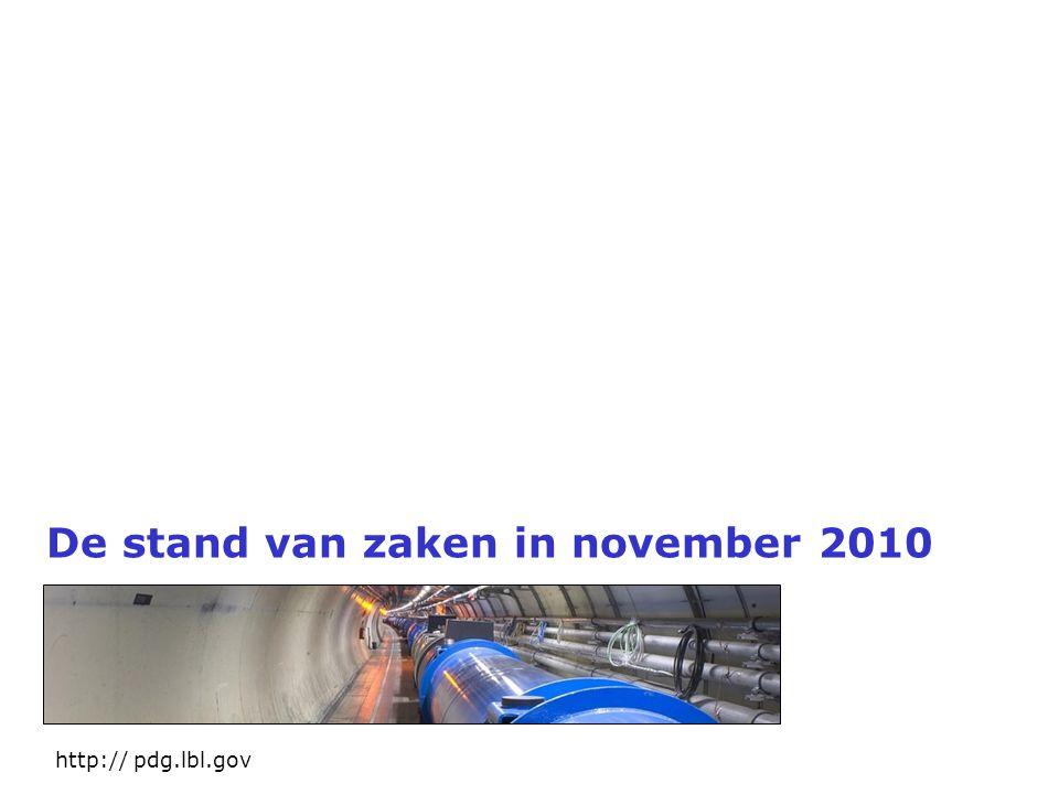 De stand van zaken in november 2010 http:// pdg.lbl.gov