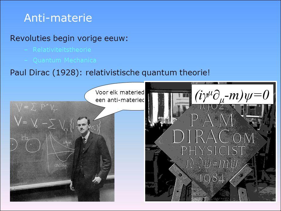 Anti-materie Revoluties begin vorige eeuw: –Relativiteitstheorie –Quantum Mechanica Paul Dirac (1928): relativistische quantum theorie! Anti-materie d