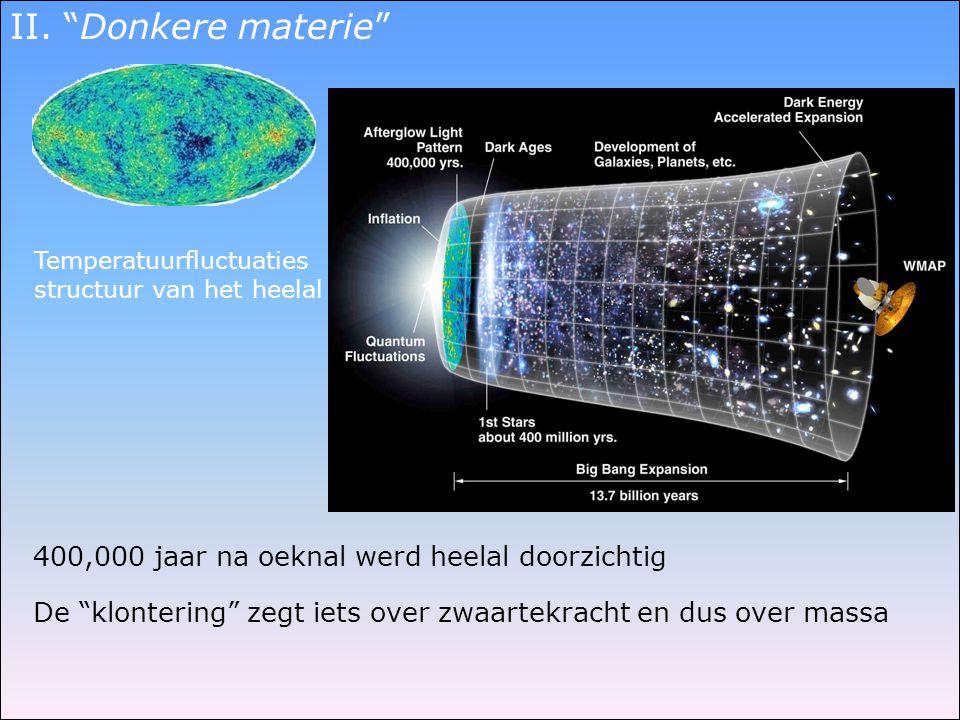 """Temperatuurfluctuaties structuur van het heelal De """"klontering"""" zegt iets over zwaartekracht en dus over massa 400,000 jaar na oeknal werd heelal door"""